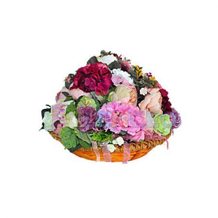 Çiçekli Yuvarlak Sepet
