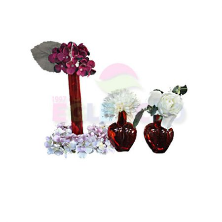 Kırmızı Çiçekli Vazo Takımı