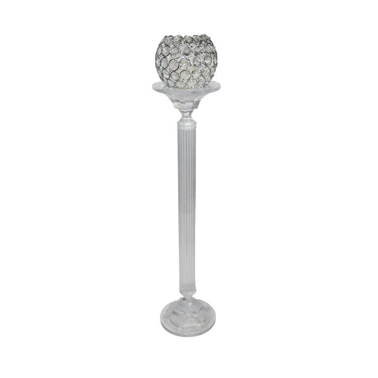 Cam Kristal taşlı Orta mumluk